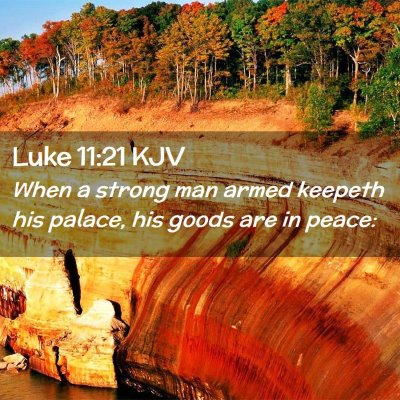 Picture 02 - Luke 11:21 KJV - When a strong man armed keepeth his palace, his - Bible Verse Picture