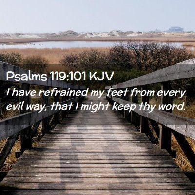 Picture 02 - Psalms 119:101 KJV - I have refrained my feet from every evil way, - Bible Verse Picture
