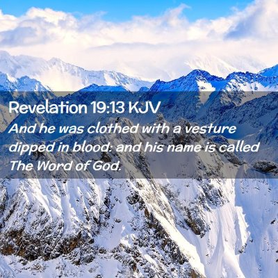 Picture 02 - Revelation 19:13 KJV - And he was clothed with a vesture dipped in - Bible Verse Picture