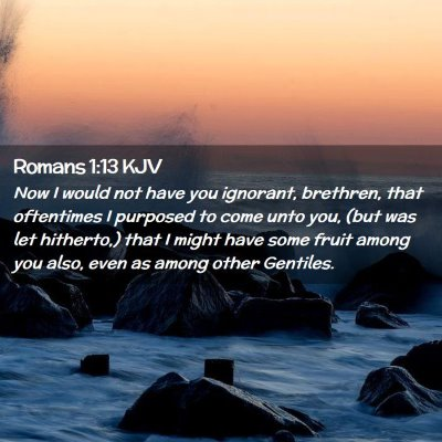 Picture 02 - Romans 1:13 KJV - Now I would not have you ignorant, brethren, that - Bible Verse Picture