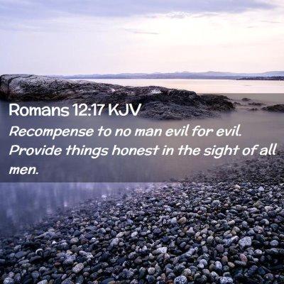 Picture 02 - Romans 12:17 KJV - Recompense to no man evil for evil. Provide - Bible Verse Picture