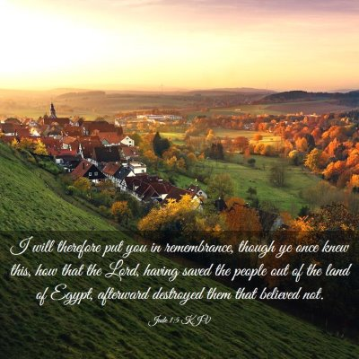 Picture 03 - Jude 1:5 KJV - I will therefore put you in remembrance, though - Bible Verse Picture