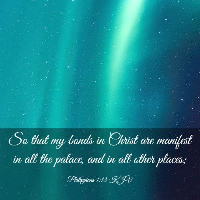 Picture 03 - Philippians 1:13 KJV - So that my bonds in Christ are manifest in all - Bible Verse Picture