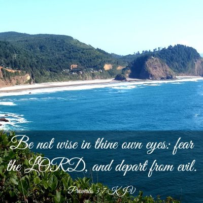 Picture 03 - Proverbs 3:7 KJV - Be not wise in thine own eyes: fear the LORD, and - Bible Verse Picture