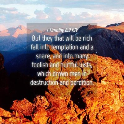 Picture 04 - 1 Timothy 6:9 KJV - But they that will be rich fall into temptation - Bible Verse Picture