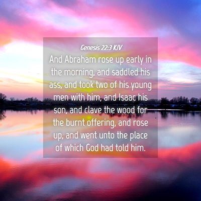 Picture 04 - Genesis 22:3 KJV - And Abraham rose up early in the morning, and - Bible Verse Picture