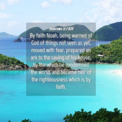 Picture 04 - Hebrews 11:7 KJV - By faith Noah, being warned of God of things not - Bible Verse Picture