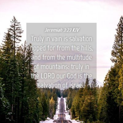 Picture 04 - Jeremiah 3:23 KJV - Truly in vain is salvation hoped for from the - Bible Verse Picture