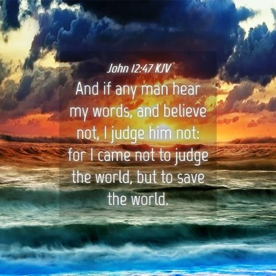 Picture 04 - John 12:47 KJV - And if any man hear my words, and believe not, I - Bible Verse Picture