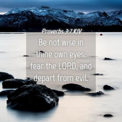 Picture 04 - Proverbs 3:7 KJV - Be not wise in thine own eyes: fear the LORD, and - Bible Verse Picture