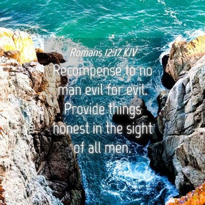 Picture 04 - Romans 12:17 KJV - Recompense to no man evil for evil. Provide - Bible Verse Picture