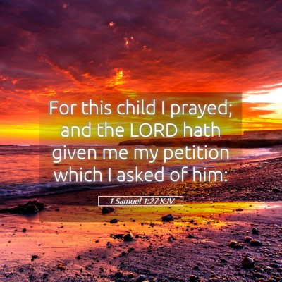 Picture 05 - 1 Samuel 1:27 KJV - For this child I prayed; and the LORD hath given - Bible Verse Picture