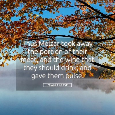 Picture 05 - Daniel 1:16 KJV - Thus Melzar took away the portion of their meat, - Bible Verse Picture