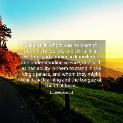 Picture 05 - Daniel 1:4 KJV - Children in whom was no blemish, but well - Bible Verse Picture