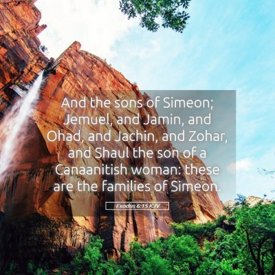 Picture 05 - Exodus 6:15 KJV - And the sons of Simeon; Jemuel, and Jamin, and - Bible Verse Picture