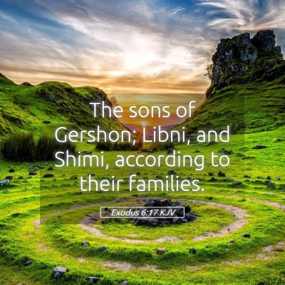 Picture 05 - Exodus 6:17 KJV - The sons of Gershon; Libni, and Shimi, according - Bible Verse Picture