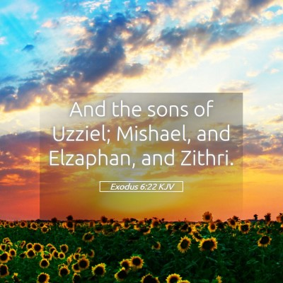 Picture 05 - Exodus 6:22 KJV - And the sons of Uzziel; Mishael, and Elzaphan, - Bible Verse Picture