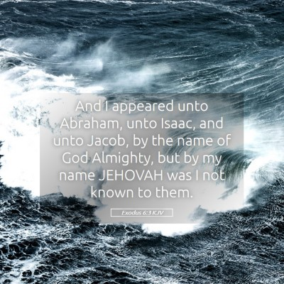 Picture 05 - Exodus 6:3 KJV - And I appeared unto Abraham, unto Isaac, and unto - Bible Verse Picture