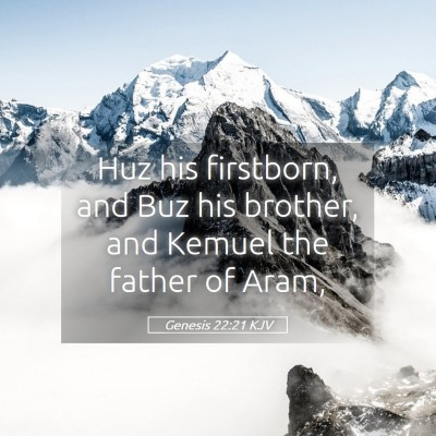 Picture 05 - Genesis 22:21 KJV - Huz his firstborn, and Buz his brother, and - Bible Verse Picture