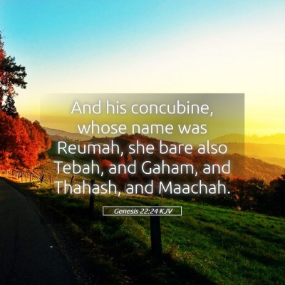 Picture 05 - Genesis 22:24 KJV - And his concubine, whose name was Reumah, she - Bible Verse Picture