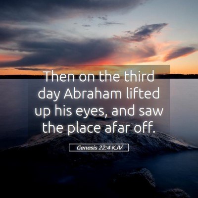 Picture 05 - Genesis 22:4 KJV - Then on the third day Abraham lifted up his eyes, - Bible Verse Picture