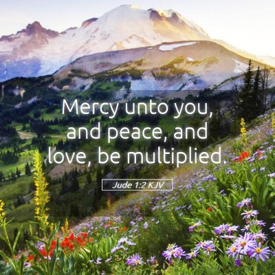Picture 05 - Jude 1:2 KJV - Mercy unto you, and peace, and love, be - Bible Verse Picture
