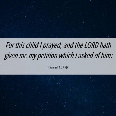 Picture 06 - 1 Samuel 1:27 KJV - For this child I prayed; and the LORD hath given - Bible Verse Picture