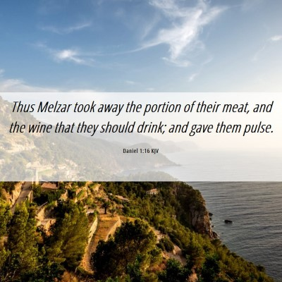 Picture 06 - Daniel 1:16 KJV - Thus Melzar took away the portion of their meat, - Bible Verse Picture