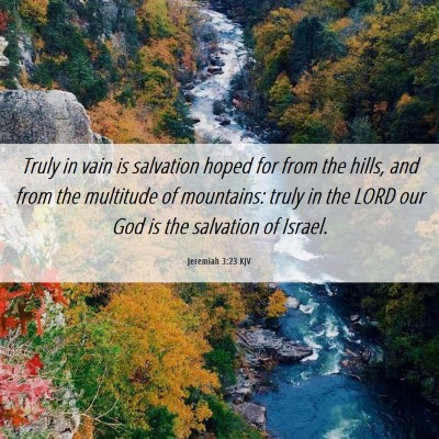 Picture 06 - Jeremiah 3:23 KJV - Truly in vain is salvation hoped for from the - Bible Verse Picture