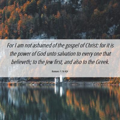 Picture 06 - Romans 1:16 KJV - For I am not ashamed of the gospel of Christ: for - Bible Verse Picture