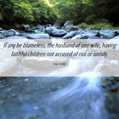 Picture 06 - Titus 1:6 KJV - If any be blameless, the husband of one wife, - Bible Verse Picture