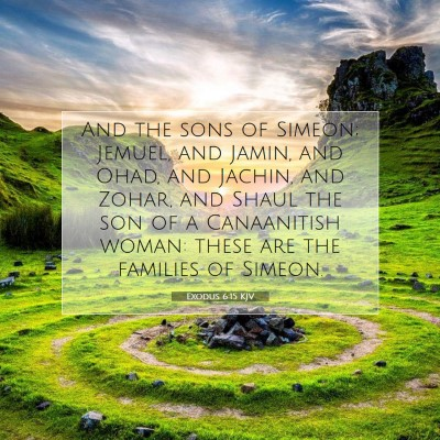 Picture 07 - Exodus 6:15 KJV - And the sons of Simeon; Jemuel, and Jamin, and - Bible Verse Picture