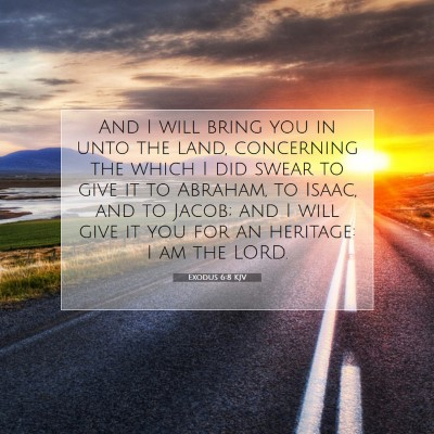 Picture 07 - Exodus 6:8 KJV - And I will bring you in unto the land, concerning - Bible Verse Picture