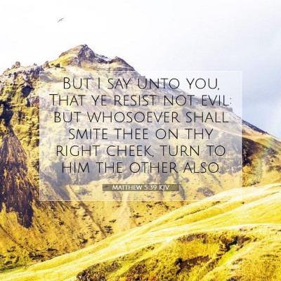 Picture 07 - Matthew 5:39 KJV - But I say unto you, That ye resist not evil: but - Bible Verse Picture