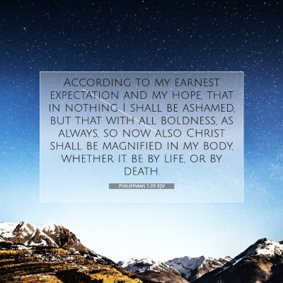 Picture 07 - Philippians 1:20 KJV - According to my earnest expectation and my hope, - Bible Verse Picture