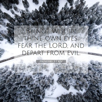 Picture 07 - Proverbs 3:7 KJV - Be not wise in thine own eyes: fear the LORD, and - Bible Verse Picture
