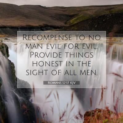 Picture 07 - Romans 12:17 KJV - Recompense to no man evil for evil. Provide - Bible Verse Picture