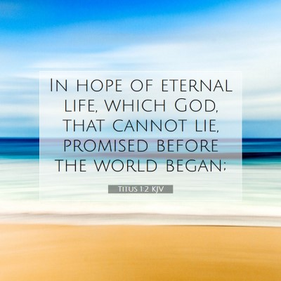 Picture 07 - Titus 1:2 KJV - In hope of eternal life, which God, that cannot - Bible Verse Picture