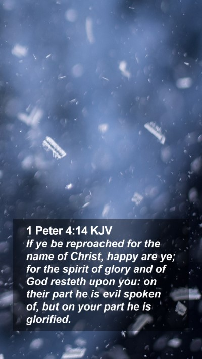 1 Peter 4:14 KJV Mobile Phone Wallpaper - If ye be reproached for the name of Christ, happy - Mobile Bible Verse Wallpaper