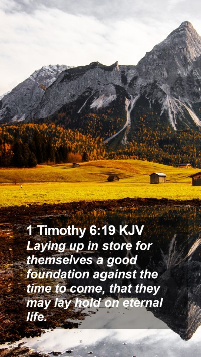 1 Timothy 6:19 KJV Mobile Phone Wallpaper - Laying up in store for themselves a good - Mobile Bible Verse Wallpaper