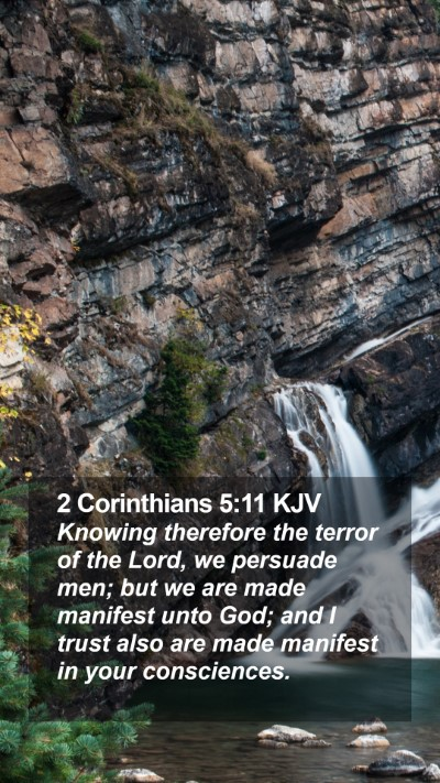 2 Corinthians 5:11 KJV Mobile Phone Wallpaper - Knowing therefore the terror of the Lord, we - Mobile Bible Verse Wallpaper