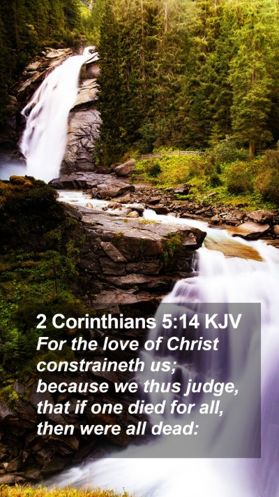 2 Corinthians 5:14 KJV Mobile Phone Wallpaper - For the love of Christ constraineth us; because - Mobile Bible Verse Wallpaper