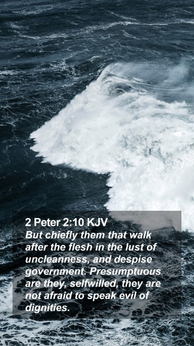 2 Peter 2:10 KJV Mobile Phone Wallpaper - But chiefly them that walk after the flesh in the - Mobile Bible Verse Wallpaper