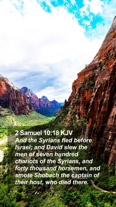 2 Samuel 10:18 KJV Mobile Phone Wallpaper - And the Syrians fled before Israel; and David - Mobile Bible Verse Wallpaper