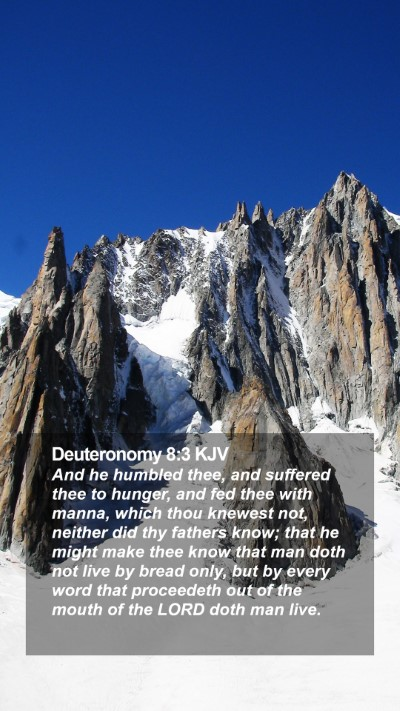 Deuteronomy 8:3 KJV Mobile Phone Wallpaper - And he humbled thee, and suffered thee to hunger, - Mobile Bible Verse Wallpaper
