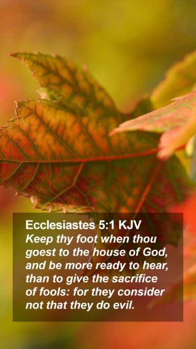 Ecclesiastes 5:1 KJV Mobile Phone Wallpaper - Keep thy foot when thou goest to the house of - Mobile Bible Verse Wallpaper