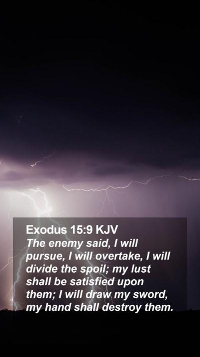 Exodus 15:9 KJV Mobile Phone Wallpaper - The enemy said, I will pursue, I will overtake, I - Mobile Bible Verse Wallpaper