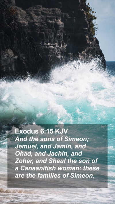 Exodus 6:15 KJV Mobile Phone Wallpaper - And the sons of Simeon; Jemuel, and Jamin, and - Mobile Bible Verse Wallpaper