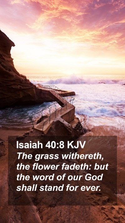 Isaiah 40:8 KJV Mobile Phone Wallpaper - The grass withereth, the flower fadeth: but the - Mobile Bible Verse Wallpaper