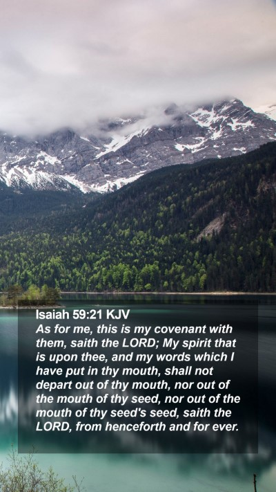 Isaiah 59:21 KJV Mobile Phone Wallpaper - As for me, this is my covenant with them, saith - Mobile Bible Verse Wallpaper